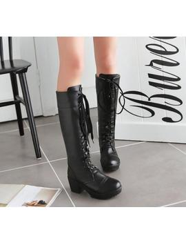 Womens Punk Chunky Block Heel Round Toe Lace Up Knee High Riding Boots Size Uk A by Ebay Seller