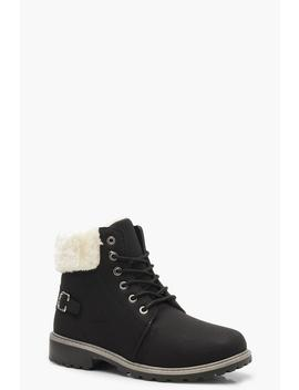 Faux Fur Collar Hiker Boots by Boohoo