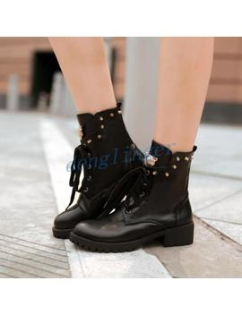 Fashion Ladies Womens Block Heel Ankle Boot Rivet Lace Up Shoes Round Toe Warm by Ebay Seller
