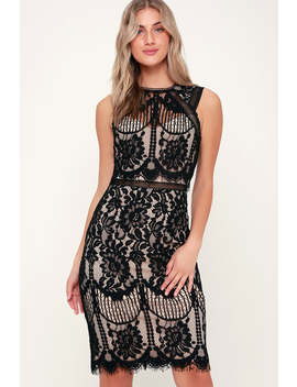 Sweetness Black And Nude Lace Midi Dress by Lulus