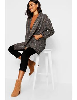 Double Breasted Check Wool Coat by Boohoo