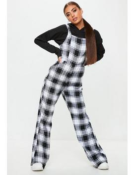 Black Check Dungaree Jumpsuit by Missguided