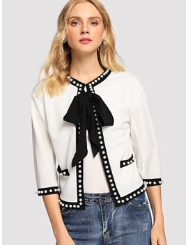 Tie Neck Pearl Embellished Blazer by Shein