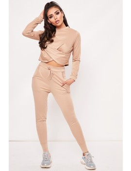 Hayley Camel Twist Front Loungewear Set by Misspap