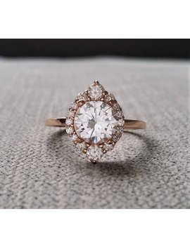"""White Sapphire Diamond Engagement Ring Halo Bohemian Art Deco Jewelry Indian Vintage Antique 14 K Rose Gold Exclusive """"The Jasmine"""" by Etsy"""