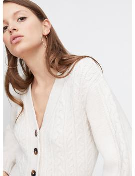 Cream Cable V Neck Knitted Cardigan by Miss Selfridge