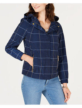 Petite Plaid Water Resistant Jacket, Created For Macy's by Charter Club