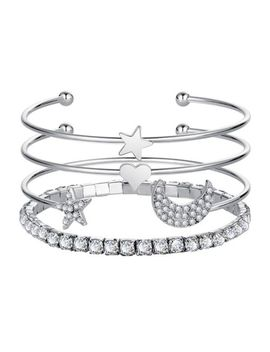 Fashion 4 Pcs Cuff Bangle Bracelet Set Moon Star Heart Shiny Rhinestone Jewelry by Unbranded