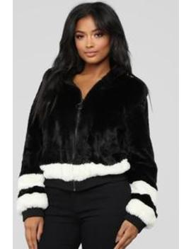 That's What I Like Fur Bomber   Black/White by Fashion Nova