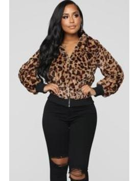 Drawin' The Line Feline Jacket   Brown by Fashion Nova