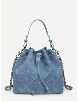 Quilted Stitch Drawstring Bag by Sheinside