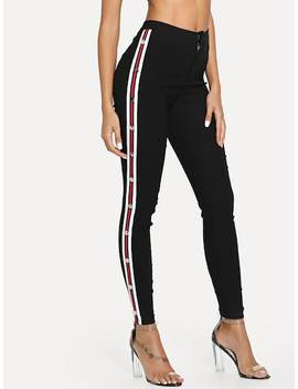 Contrast Striped Button Side Pants by Shein