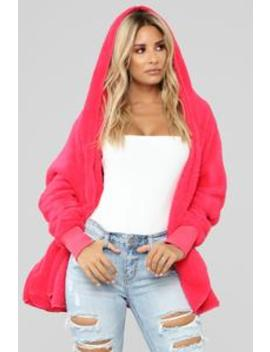 Let's Get Cozy Oversized Coat   Fuchsia by Fashion Nova