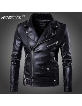 2018 New Design Motorcycle Bomber Leather Jacket Men Autumn Turn Down Collar Slim Fit Male Leather Jacket Coats Plus Size M 5 Xl by Aowofs