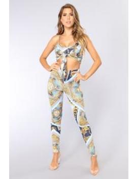 Vicenza Pant Set   Blue/Multi by Fashion Nova