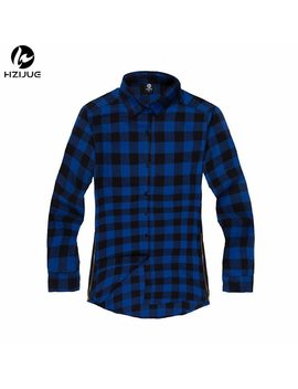 Hzijue Hip Hop Scottish Plaid Long Sleeve Flannel Shirt Men/ Dancers Shirt Golden Side Zipper/ Oversize Plaid Lengthen Shirt by Hzijue