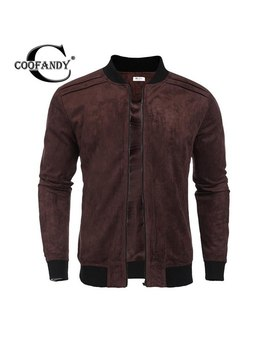 Collar Stand Men Zip Up Patchwork Faux Suede Casual Bomber Jacket W/ Pocket by Coofandy