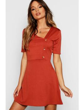 Horn Button Short Sleeve Skater Dress by Boohoo