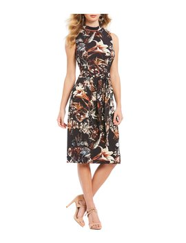 Parker Floral Print Mockneck Belted Midi Dress by Antonio Melani