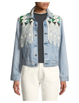 Boyfriend Denim Trucker Jacket W/ Embroidery by Levi's Made & Crafted