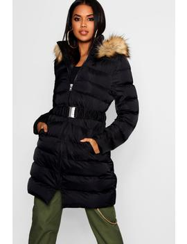 Belted Matte Satin Quilted Coat by Boohoo