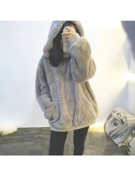 Korean Version Fashion Autumn Winter Plush Sweater Loose Hooded Thick Warm Coat by Unbranded