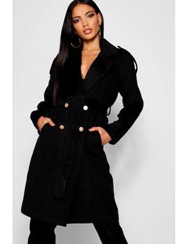 Belted Double Breasted Wool Look Trench by Boohoo