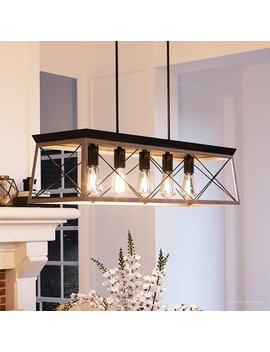 "Luxury Industrial Chic Island/Linear Chandelier, 9""H X 38""W, With Modern Farmhouse Style, Charcoal Finish By Urban Ambiance by Urban Ambiance"