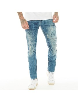 883 Police Mens Hazard Ai 428 Twisted Stretch Jeans Blue/Destroyed by Mand M Direct