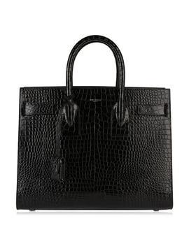 Sac De Jour Crocodile Texture Leather Bag by Saint Laurent