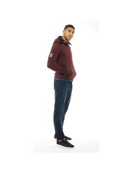 Superdry Mens Storm Double Zip Hoodie Oxblood by Mand M Direct