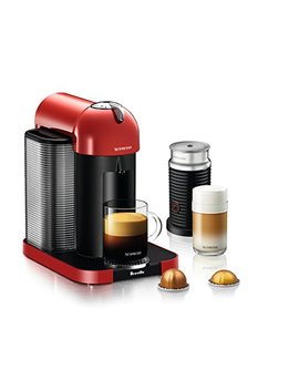 Nespresso Vertuo Coffee And Espresso Machine Bundle With Aeroccino Milk Frother By Breville, Red by Breville