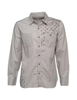 Converse Mens Minden Star Print Utility Long Sleeve Shirt Vintage Grey Heather by Mand M Direct
