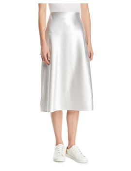 Bias Cut Satin Midi Length Slip Skirt by Vince