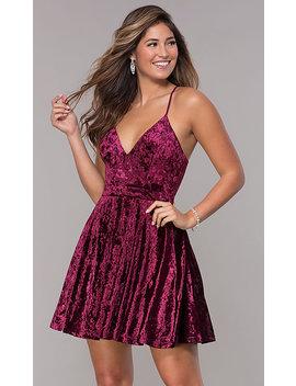 Velvet Short V Neck Homecoming Dress by Promgirl
