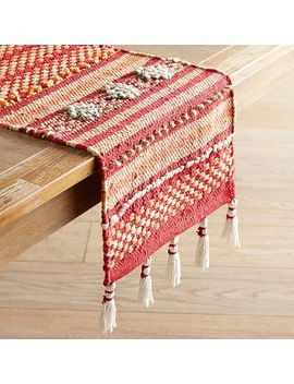 "Red & Pink Loomed 72"" Table Runner With Tassels by Pier1 Imports"