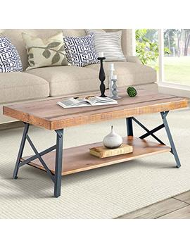 """Harper&Bright Designs Wf036984 Daa 43"""" Lindor Collection Wood Coffee Table With Metal Legs,Living Room Set/Rustic Brown, 43.3""""L X 21.65""""W X 18.34""""H by Harper&Bright Designs"""