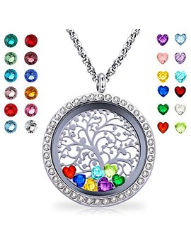 Youfeng Floating Living Memory Locket Pendant Necklace Family Tree Of Life Birthstone Necklaces by Youfeng