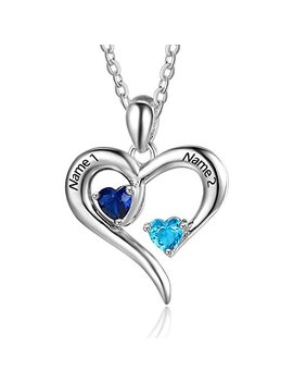Personalized 2 Names Simulated Birthstones Necklaces 2 Couple Hearts Name Engraved Pendants For Women by Love Jewelry