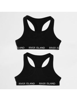 Girls Black Crop Top Pack by River Island