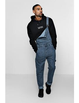 Slim Fit Rigid Denim Dungarees by Boohoo