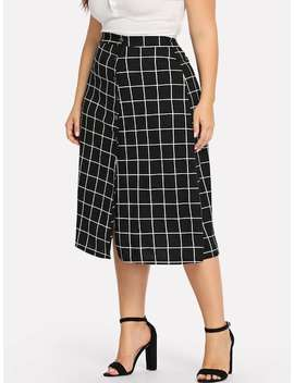 Plus Single Breasted Plaid Skirt by Sheinside