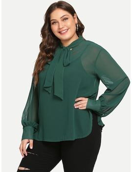 Plus Buttoned Cuff Tied Neck Blouse by Shein