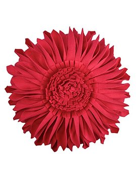 Jwh Handmade 3 D Flowers Accent Pillows Round Sunflower Cushion Decorative Pillowcases With Insert Home Sofa Bed Living Room Decor Gifts 12 Inch / 30 Cm Velvet Red by Jwh