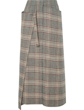 Beck Checked Wool Midi Skirt by Joseph