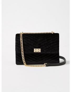 Black Velvet Quilted Cross Body Bag by Miss Selfridge