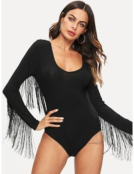 Layered Fringe Accent Fitted Bodysuit by Shein