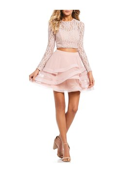 Long Sleeve Glitter Lace Horsehair Two Piece Dress by Xtraordinary