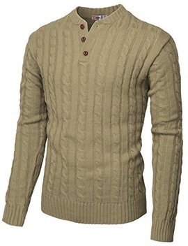 H2 H Mens Casual Henley Pullover Sweaters Knitted Long Sleeve by H2 H
