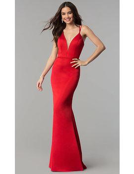 V Neck Open Back Long Satin Prom Dress By Faviana by Faviana